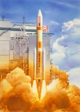 H-IIロケット試験機1号機打上げ想像図